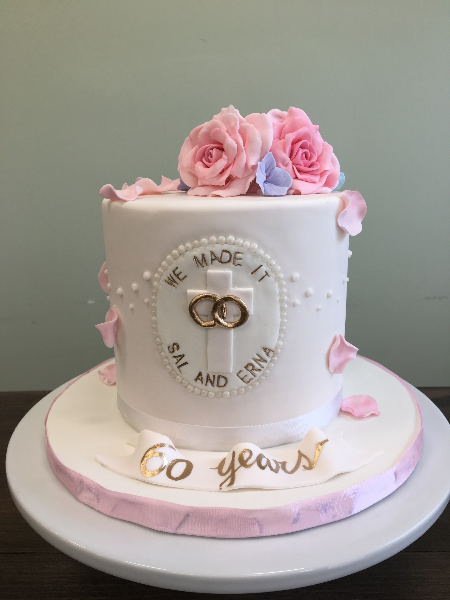 Custom Cakes NJ Wedding Anniversary Cake with Sugar Roses