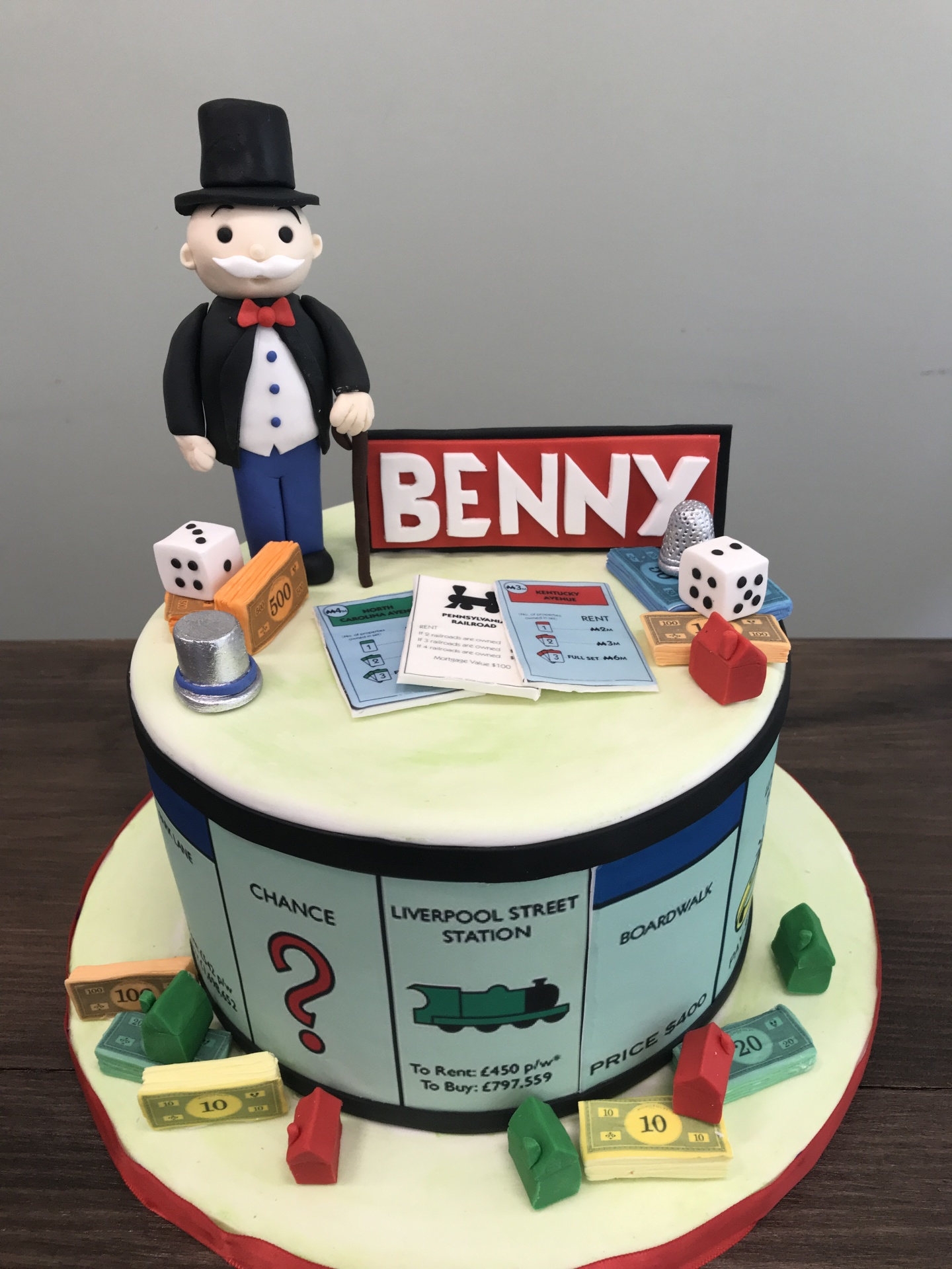 Monopoly themed cake with Fondant Monopoly Man! Custom Cakes NJ