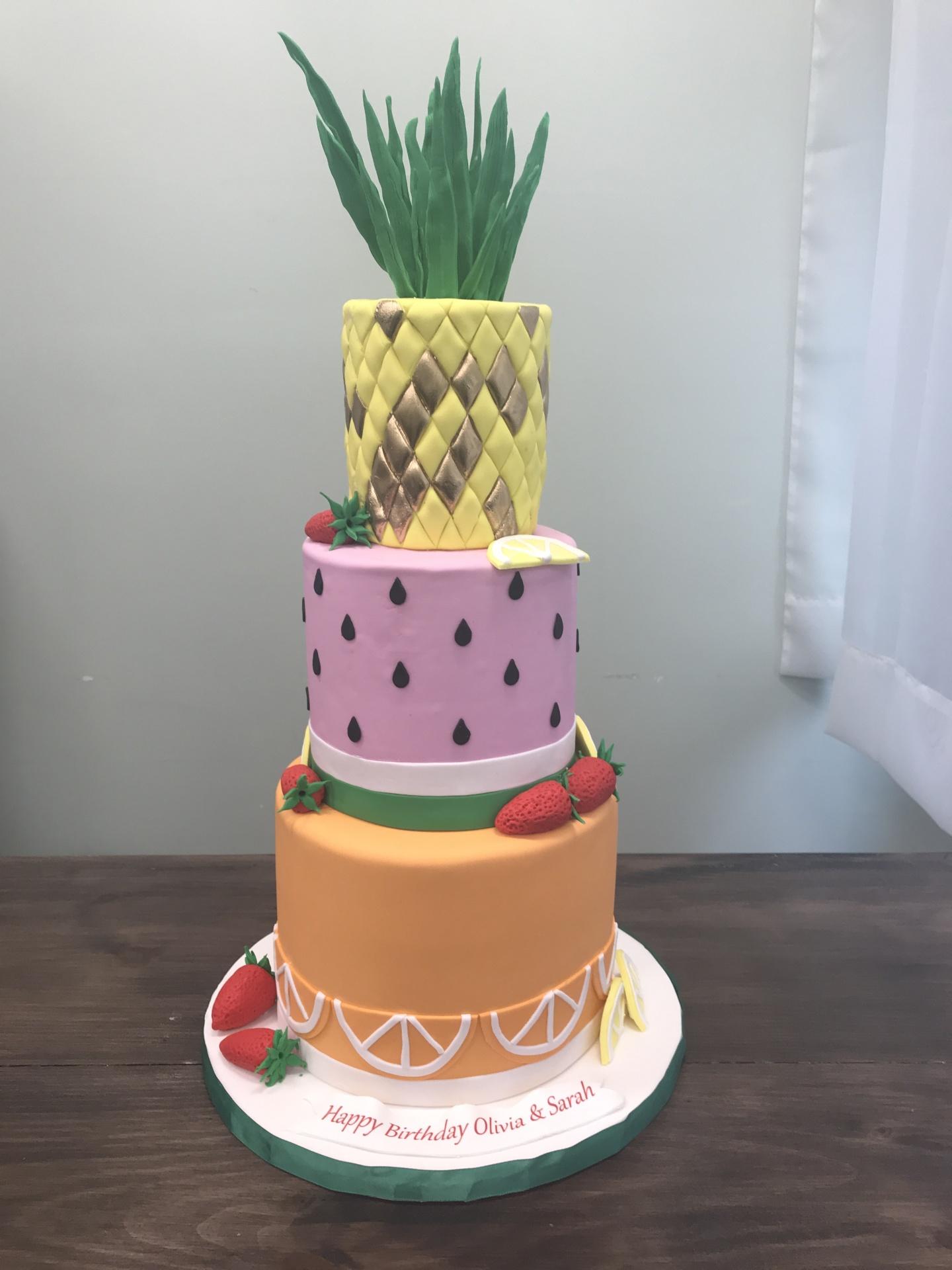 Summer Fruit Cake with Pineapple Custom Cakes NJ