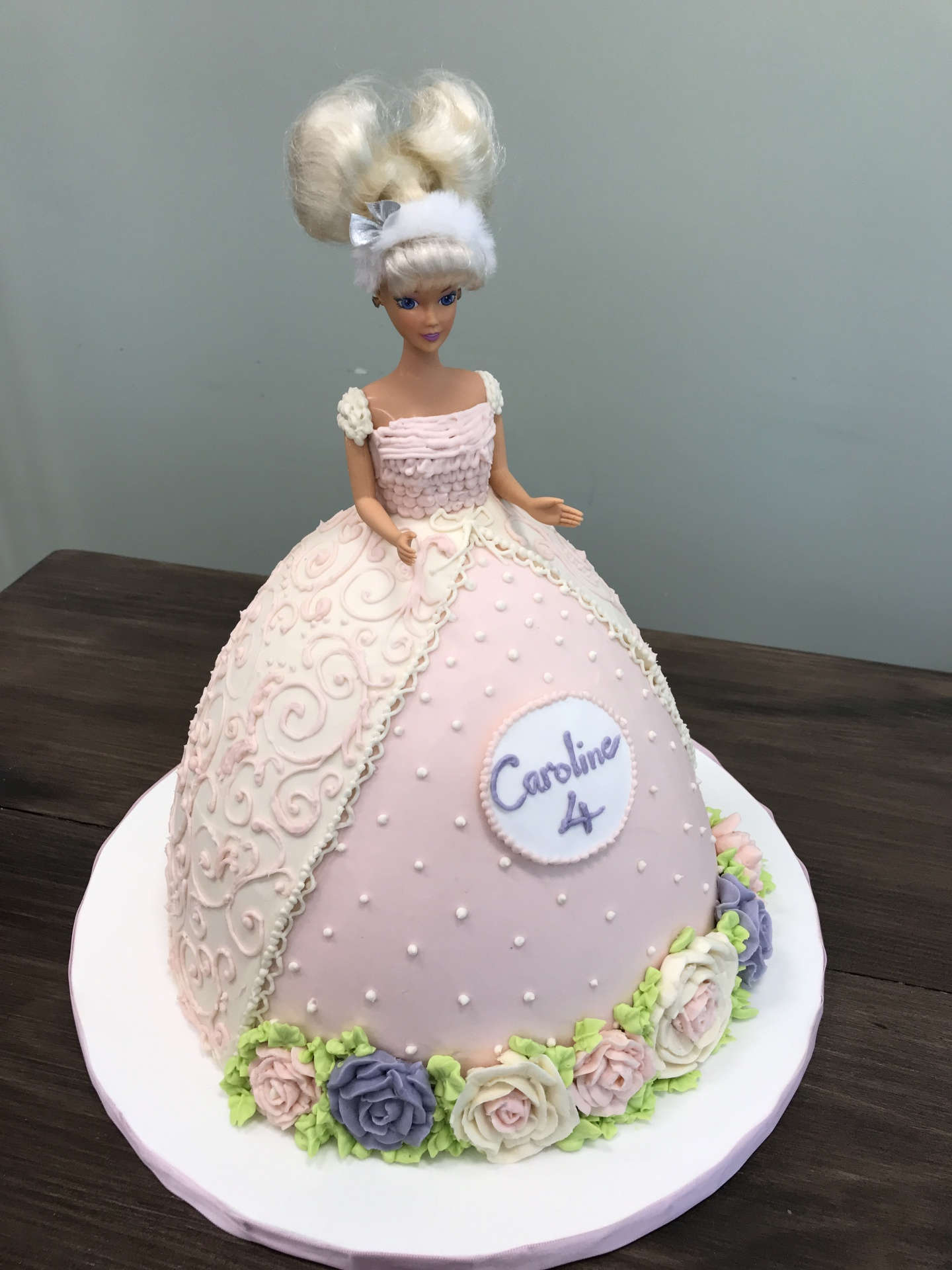 All buttercream Doll Dress Cake Custom Cakes NJ