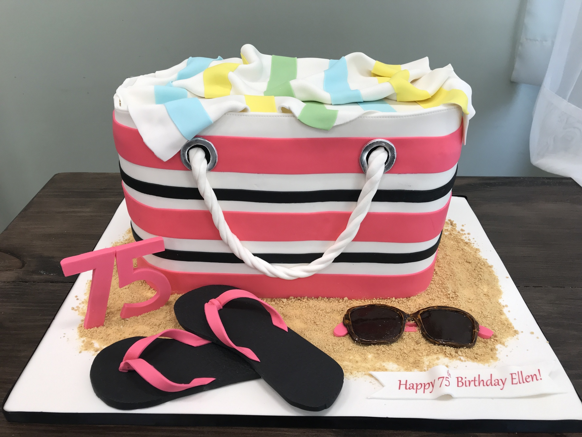 Beach bag cake with fondant sunglasses and fondant flip flops custom cakes NJ