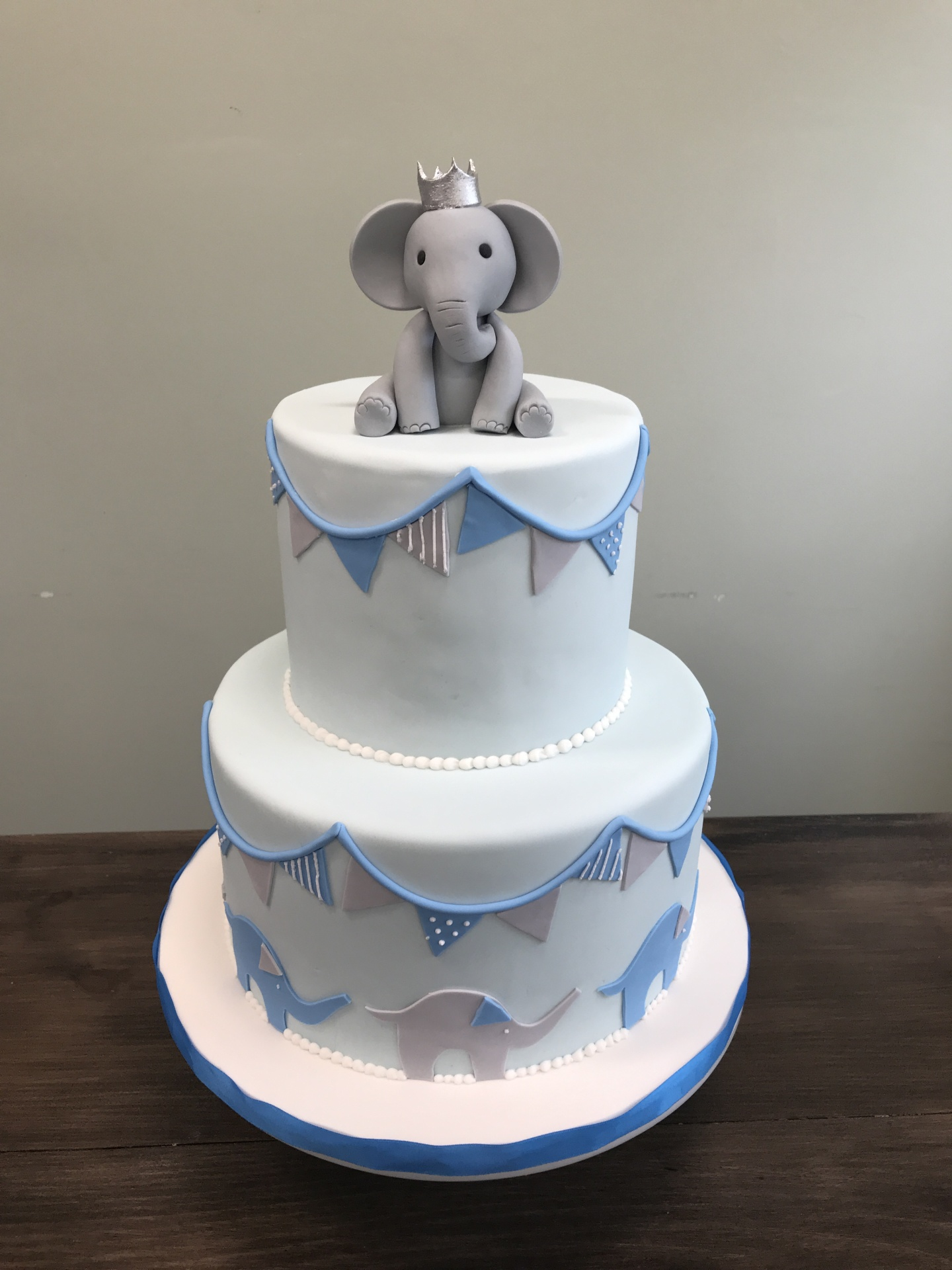 nj custom cakes Modern blue gray baby shower cake adorable fondant elephant