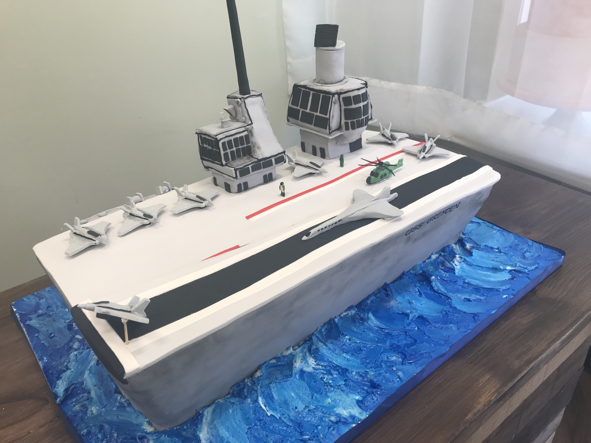 Custom cakes NJ Aircraft Carrier cake with fondant planes