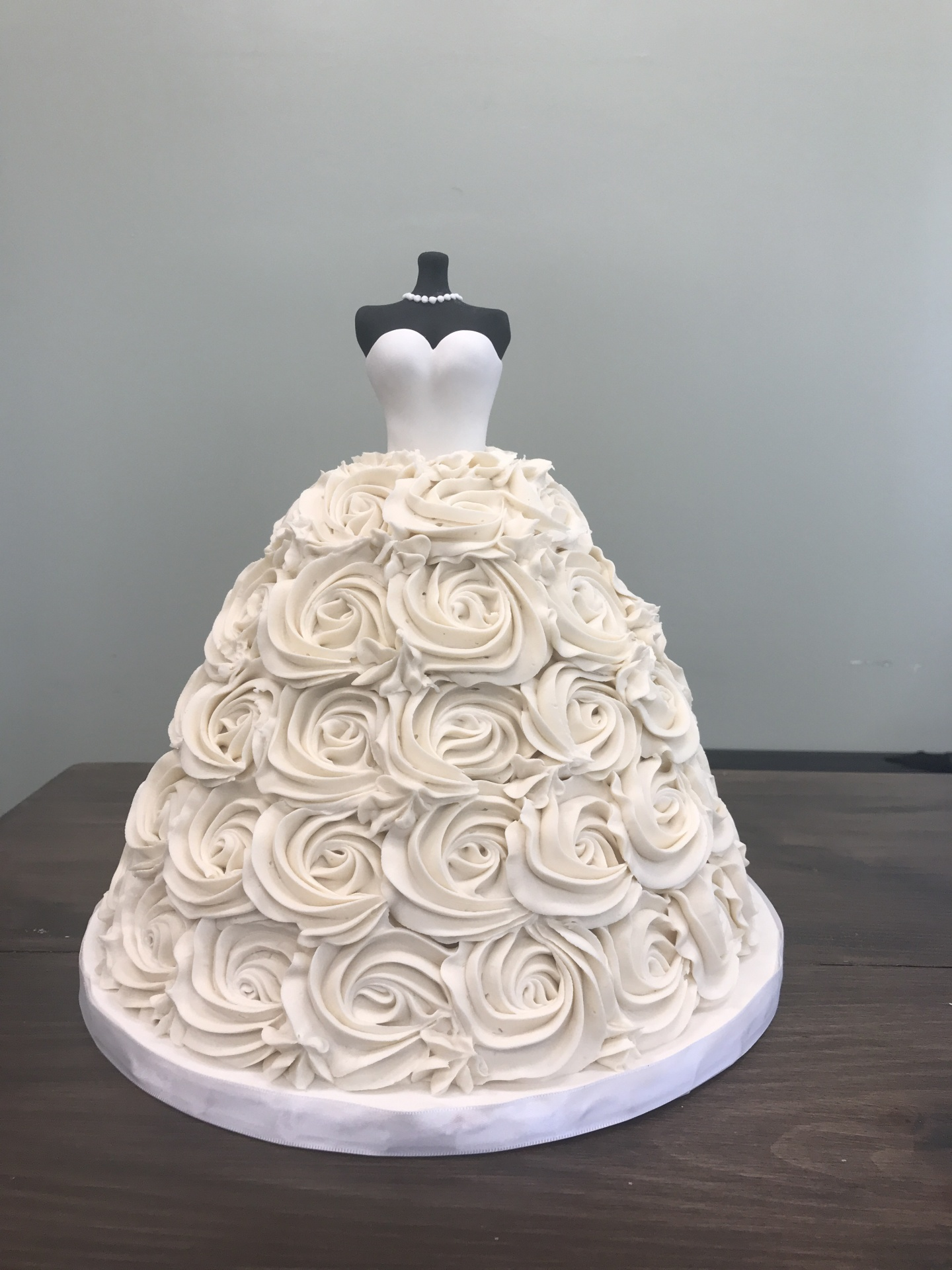 Custom Cakes NJ Dress cake with buttercream rosettes