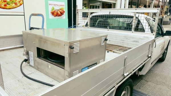 Commercial oven moving
