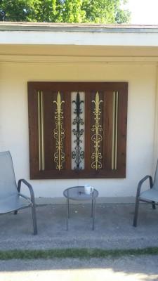 decorative cedar & iron accents