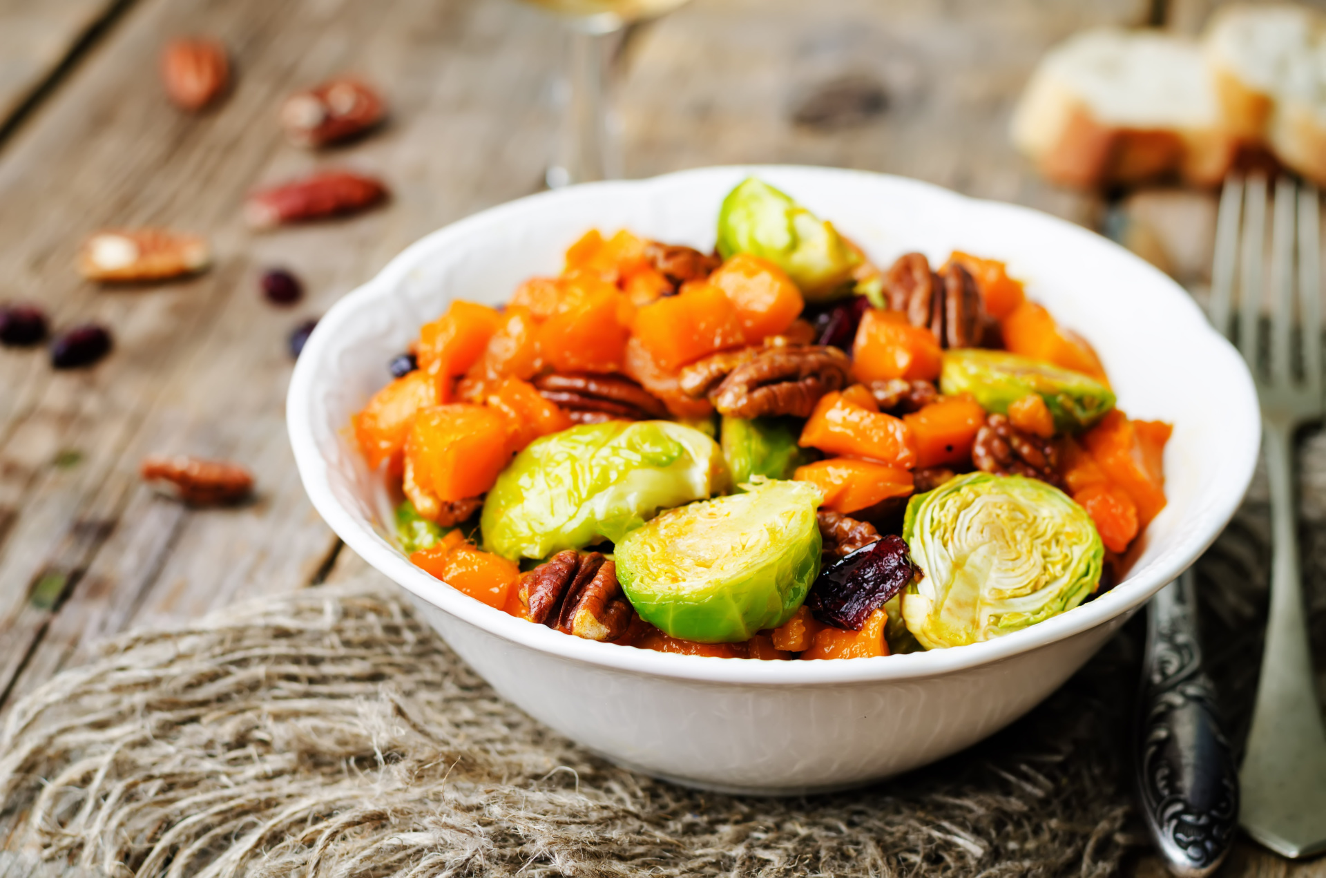 Winter Delight: Roasted Cinnamon Butternut Squash and Brussels sprouts