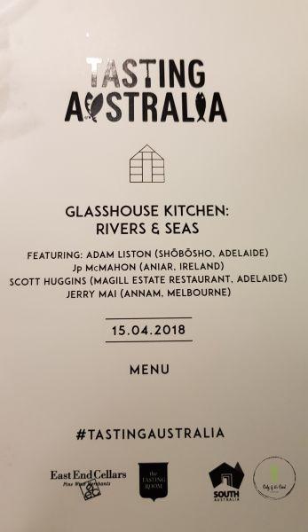Part 1: Tasting Australia - Glasshouse Kitchen - Rivers & Seas - Jealous? :-P
