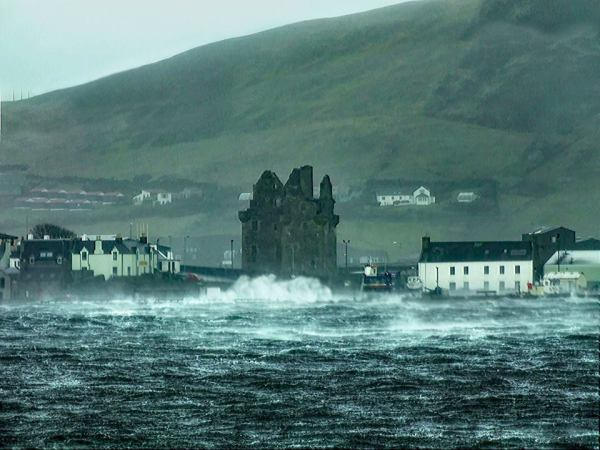 Scalloway Castle during Hurricane Gertrude