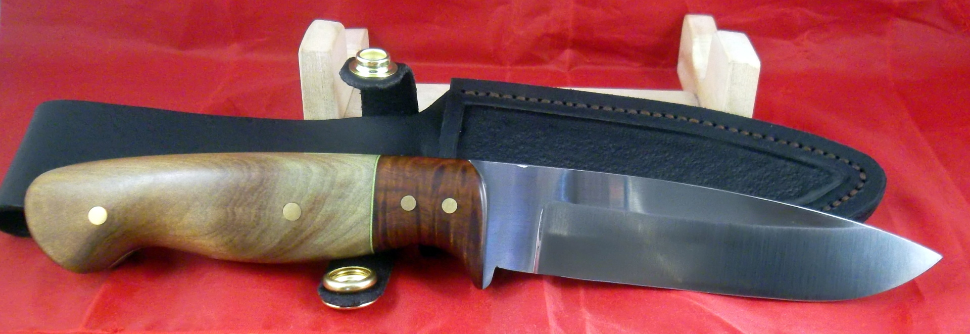 Australian made Knives, 1084 drop point hunter with Kauri and ringed gidgee. SLH Blades, Stacy Hall