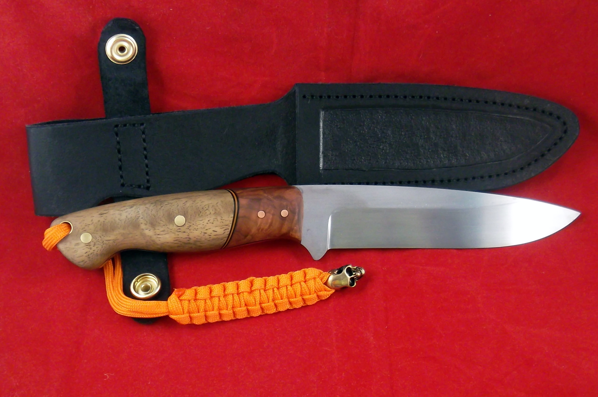 Handmade Knives Australia, 52100 drop point hunter with spotted gum and red mallee. SLH Blades, Stacy Hall