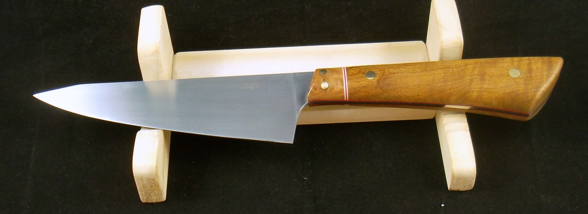 Handmade Knives, 12C27 Boning/Utility with sandalwood and red mallee. SLH Blades, Stacy Hall