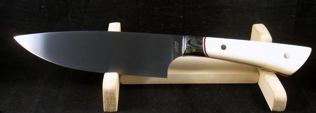 12C27 Chefs Knife with black and ebony micarta, Handmade Knives, SLH Blades, Stacy Hall