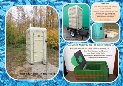 Green John®, Portable Toilet, 65 Gallon Holding Tank