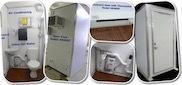 single stall, portable restroom, ceramic fixtures, fresh water handwash, flush