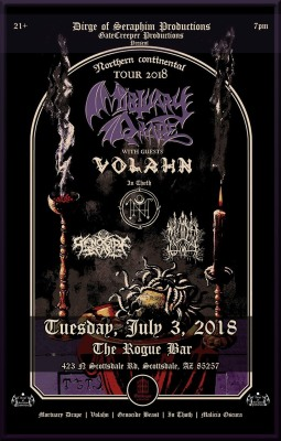 MORTUARY DRAPE WITH VOLAHN AND SPECIAL GUESTS TUESDAY, JULY 3RD AT THE ROGUE BAR IN SCOTTSDALE, AZ