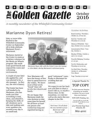 Front Page of October 2016 Golden Gazette