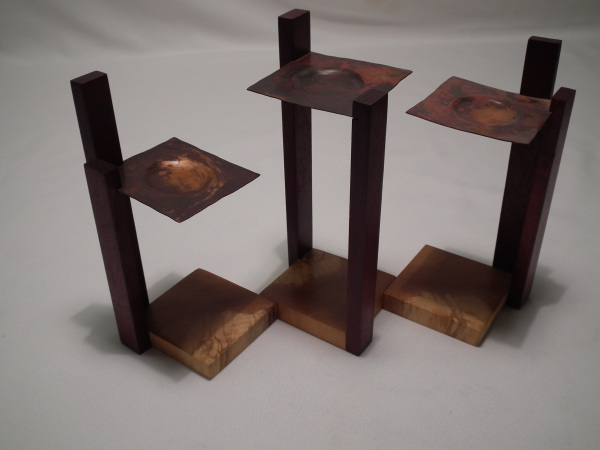 SPRUCE AND RED OAK CANDLE HOLDER