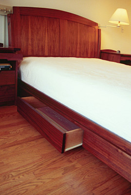 Bed Walnut Curve Custom Drawers