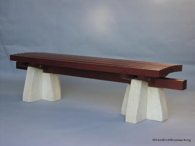 Mahogany,limestone,bench $3500.00
