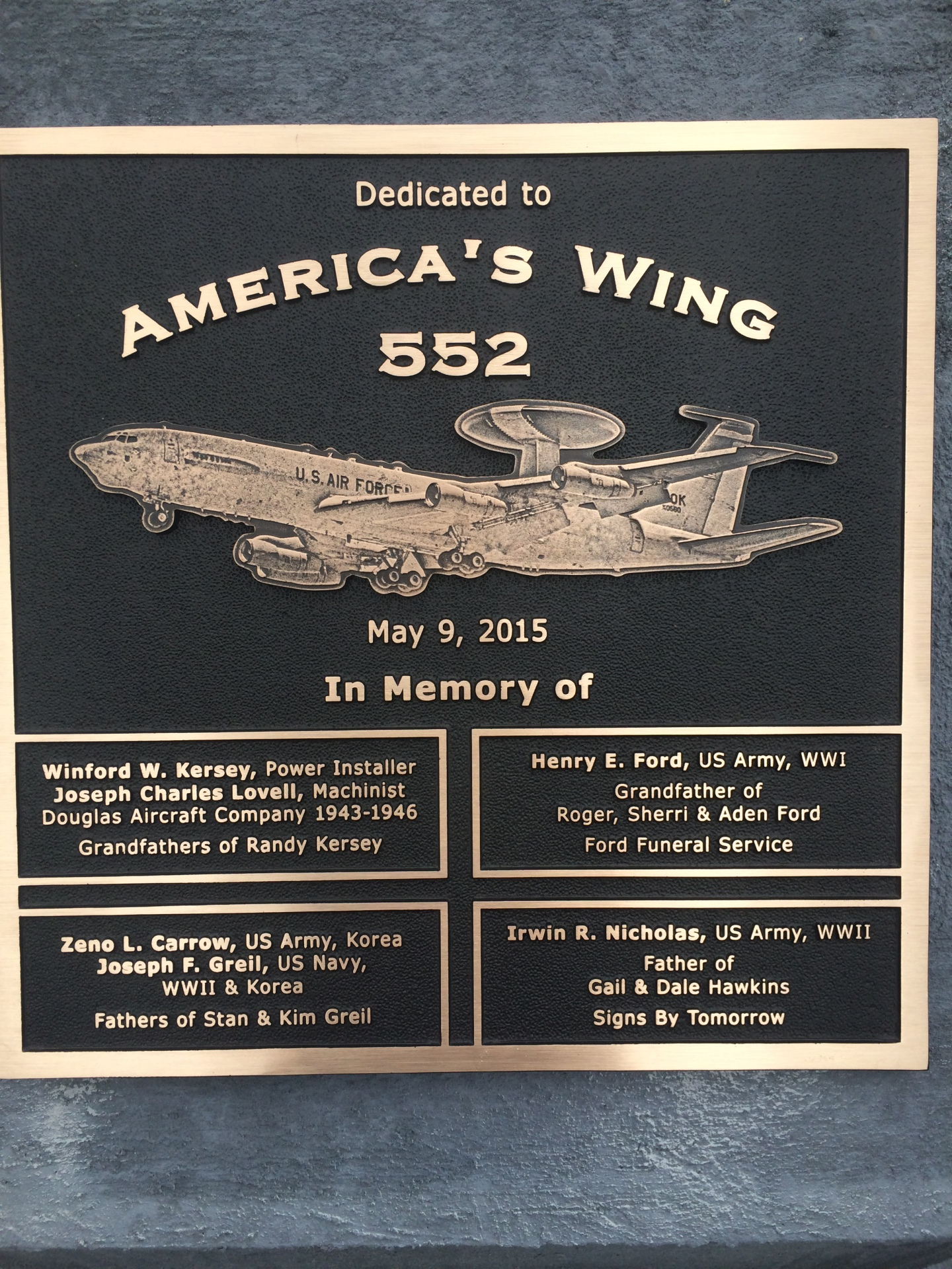 Plaque on plane outside of Tinker