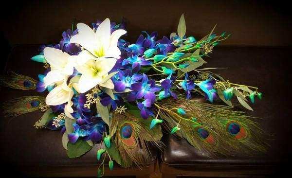 Blue orchid Peacock bouquet