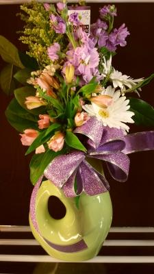 valentine, mother, keepsake, gurgle pot, happy, cheerful flowers, bouquet, entertainers, gerbera, vase, lumsden, regina, craven, regina beach, buena vista