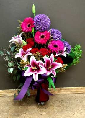 stargazer, lily, lilies, starfighter, allium, happy, cheerful flowers, bouquet, entertainers, gerbera, vase, lumsden, regina, craven, regina beach, buena vista