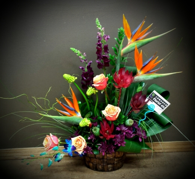 tropical, zen, exotic, roses, bird of paradise, orchids, happy, cheerful flowers, bouquet, entertainers, vase, lumsden, regina, craven, regina beach, buena vista