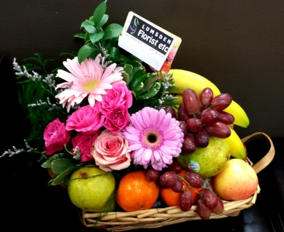 Fruit, chocolate and Flower Basket