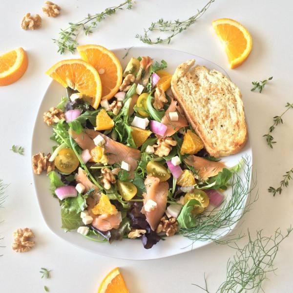 Sommer Salat, mit Lachs und Orange!