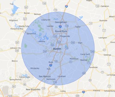 Texas Mini Mix Austin Service Areas