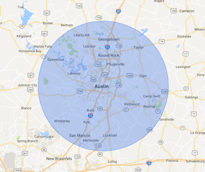 Texas Mini Mix Austin Service Areas