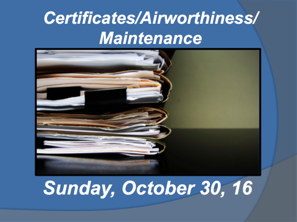 Certificates/Airworthiness/Maintenance