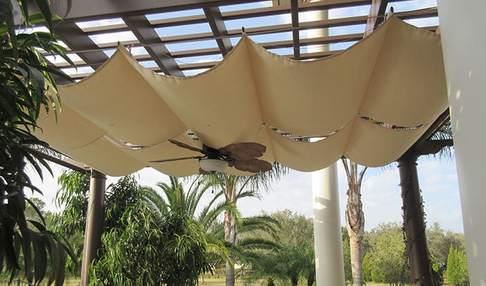 pergola, roman shades, patio cover, wire shade, canopy