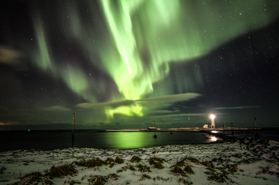 Northern lights near Grótta lighthouse