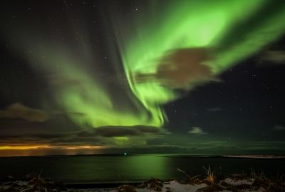 Northern lights over the sea