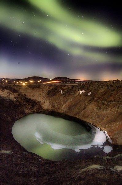 Northern lights and kerið