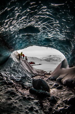 Inside glacier in Iceland