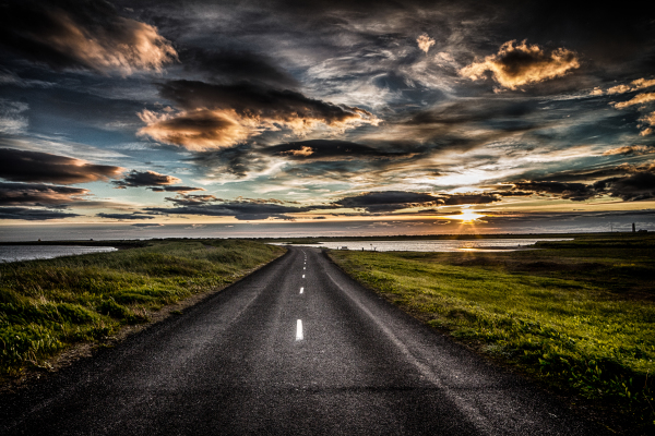 Sunset road in Seltjarnarnes