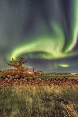 Northern lights and the house