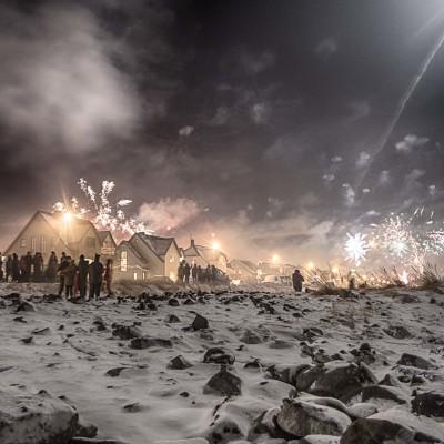 Snowy fireworks