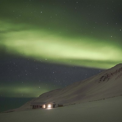 Northern lights and mountain