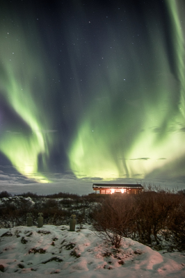 Northern lights over cottage
