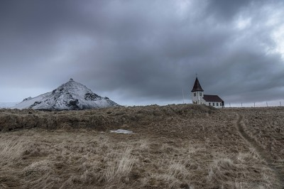 Hellnar church and the mountain