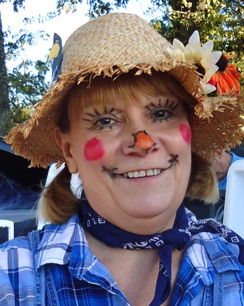 Brenda Cooper as a beautiful scarecrow