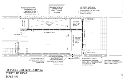 aleur associates rear and side extension North West London Burrard Road proposed ground floor plan ceiling level steel beams frames roof-lights timber trimmers masonry wall cavity columns posts steel chimney breast support