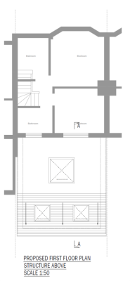 aleur associates rear extension East London Leytonstone Leybourne Road ground floor plan ceiling roof-lights steel beams frames connections cavity wall