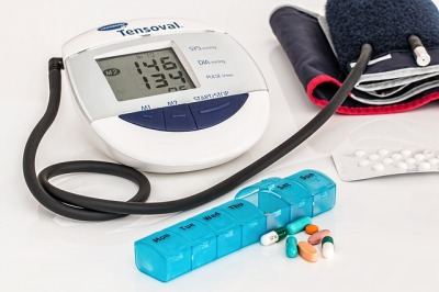 blood pressure monitor and tablets