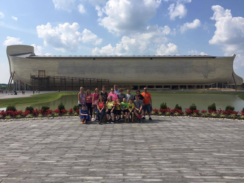 healing waters church youth visiting noahs ark in tennessee.
